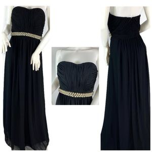 Calvin Klein Pearl embellished Strapless gown